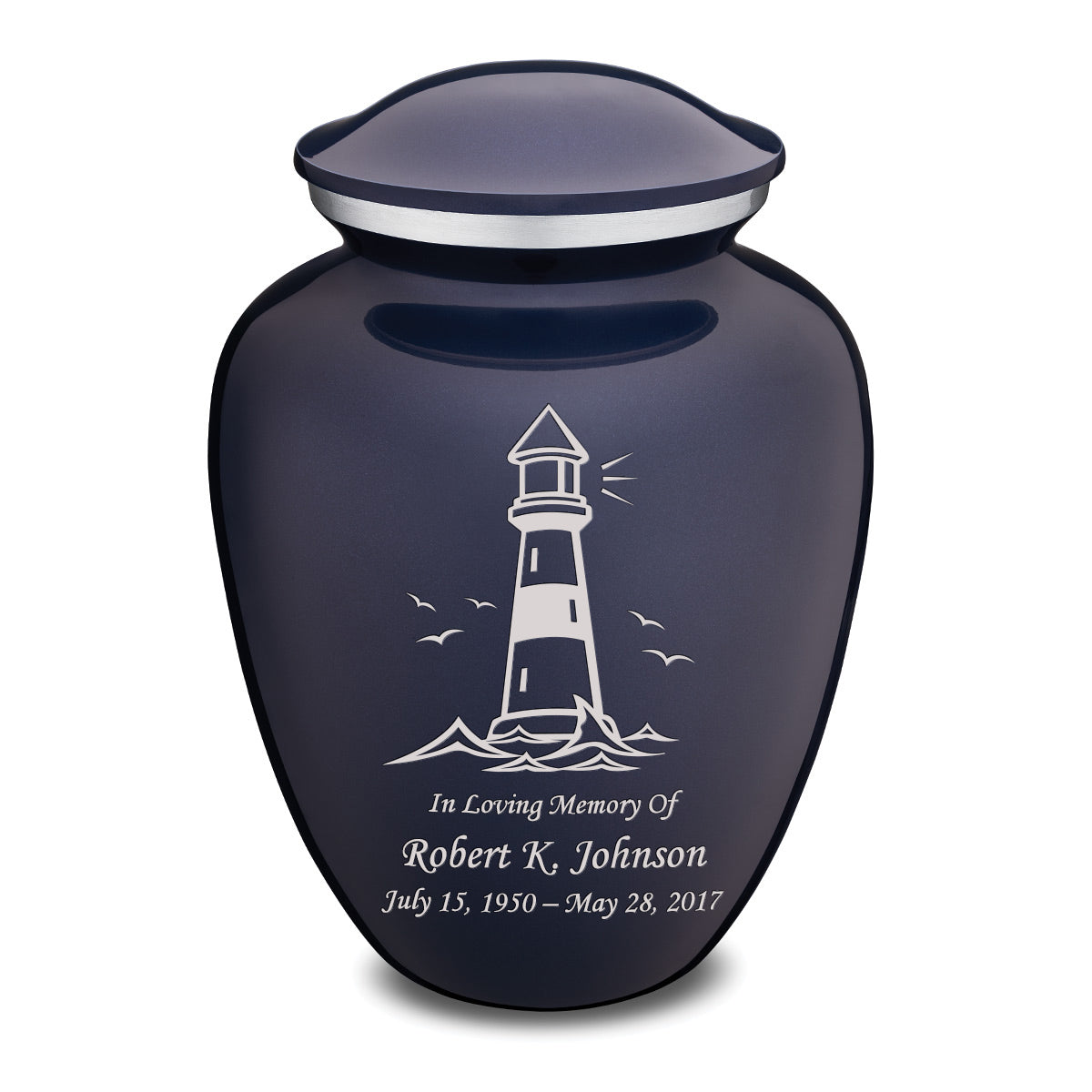 Adult Embrace Cobalt Blue Lighthouse Cremation Urn