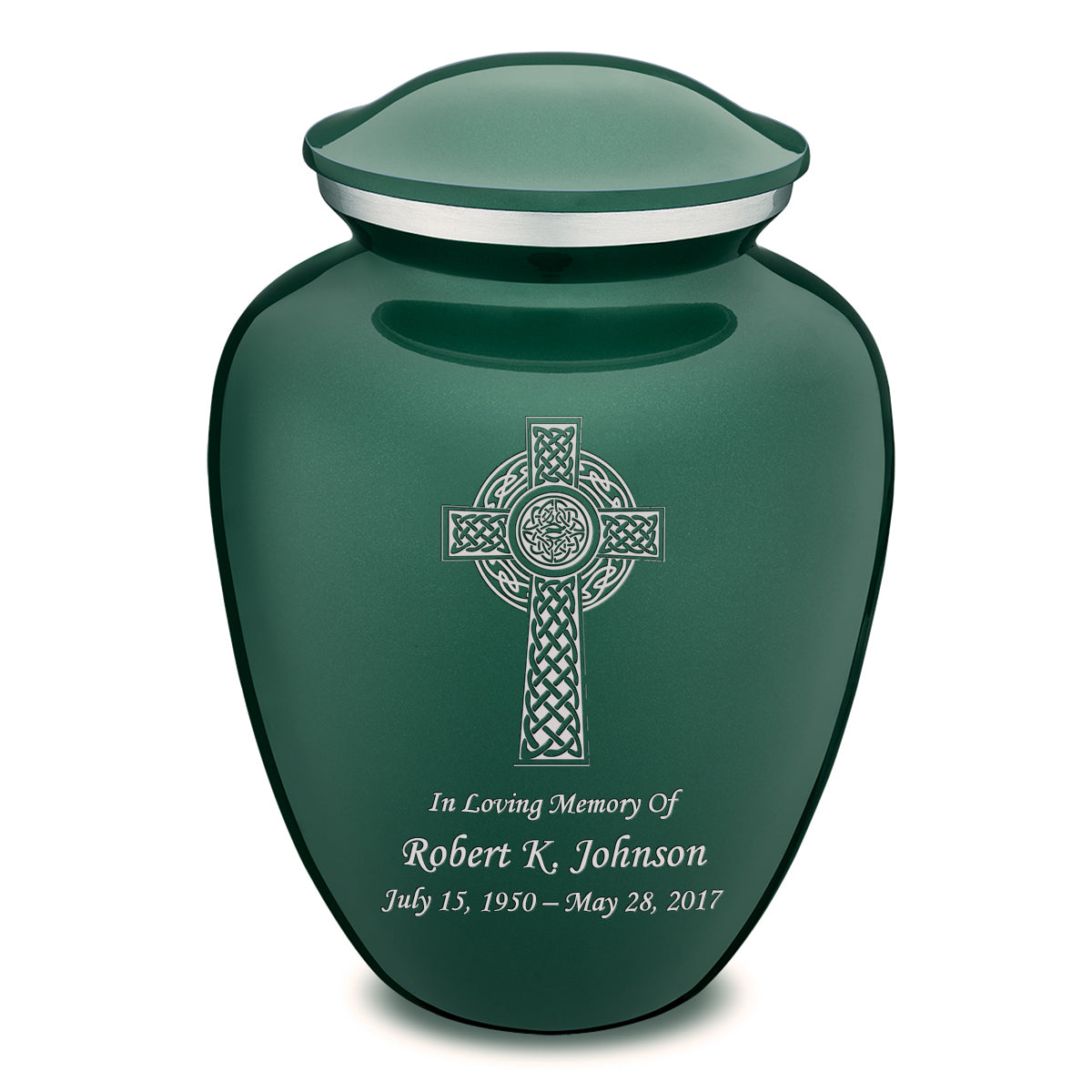 Adult Embrace Green Celtic Cross Cremation Urn