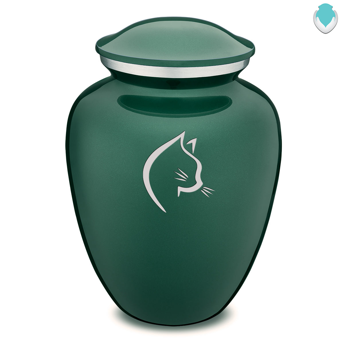 Large Embrace Green Cat Pet Cremation Urn