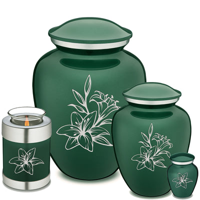 Adult Embrace Green Lily Cremation Urn