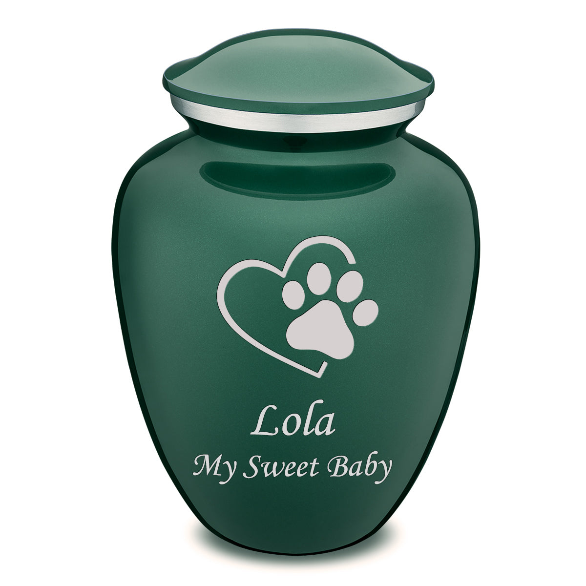 Large Embrace Green Single Paw Heart Pet Cremation Urn