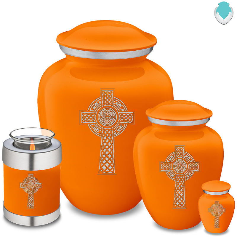 Candle Holder Embrace Burnt Orange Celtic Cross Cremation Urn