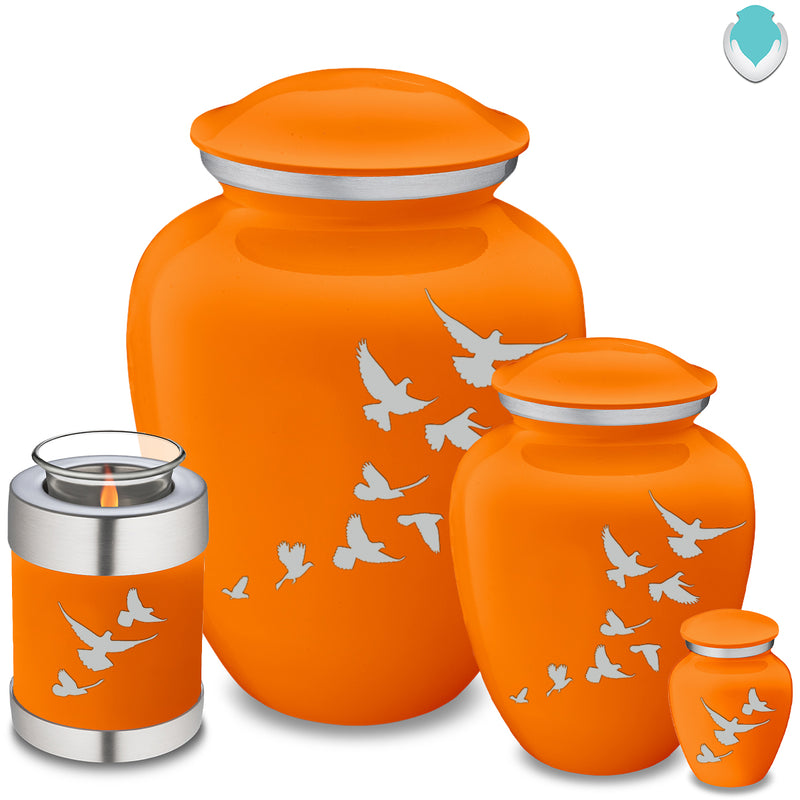Adult Embrace Burnt Orange Doves Cremation Urn