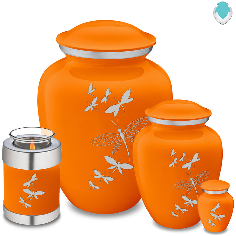Adult Embrace Burnt Orange Dragonflies Cremation Urn