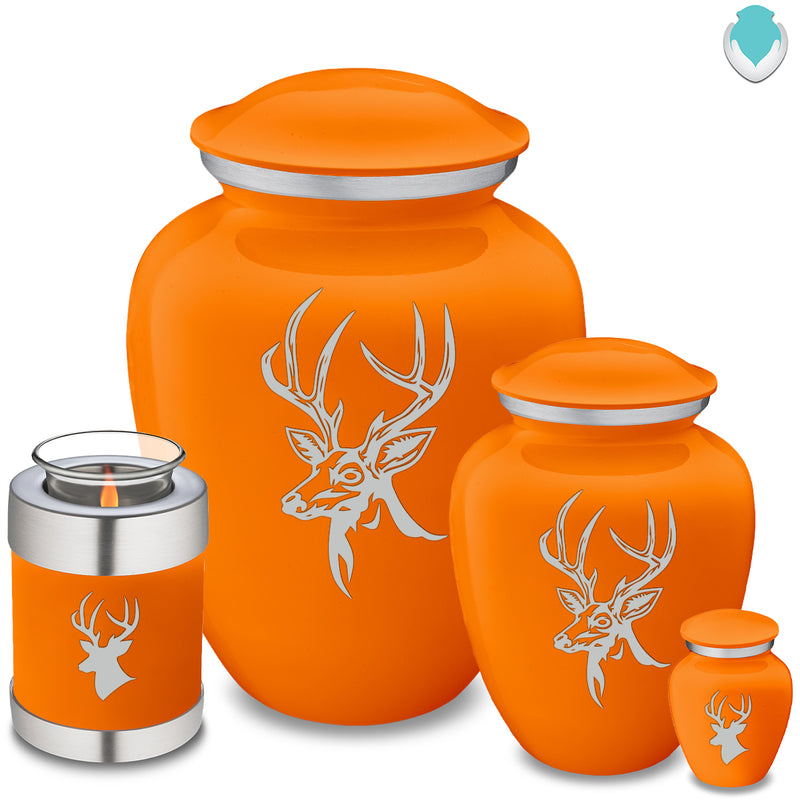 Adult Embrace Burnt Orange Deer Cremation Urn
