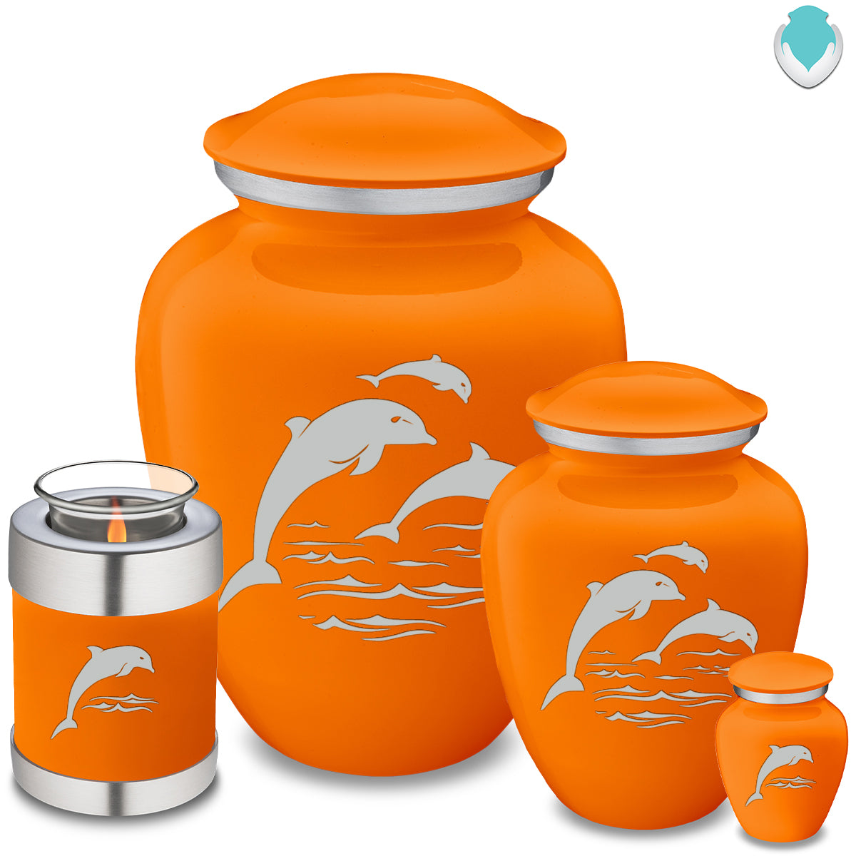 Adult Embrace Burnt Orange Dolphins Cremation Urn