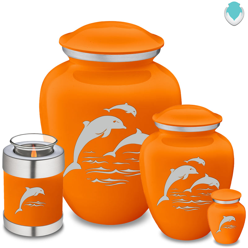 Candle Holder Embrace Burnt Orange Dolphins Cremation Urn