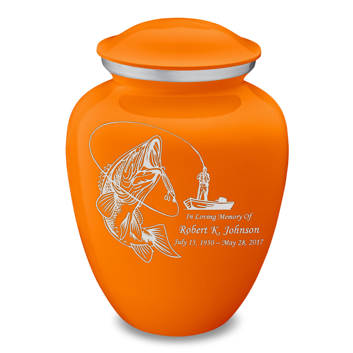 Adult Embrace Burnt Orange Fishing Cremation Urn