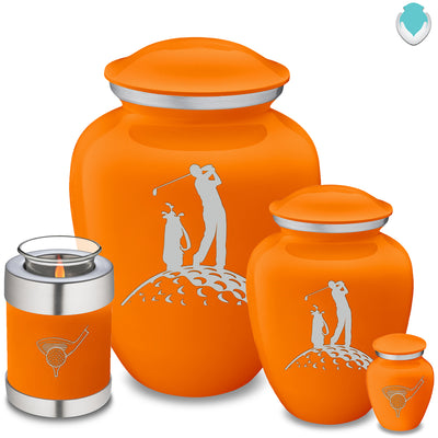 Candle Holder Embrace Burnt Orange Golfer Cremation Urn