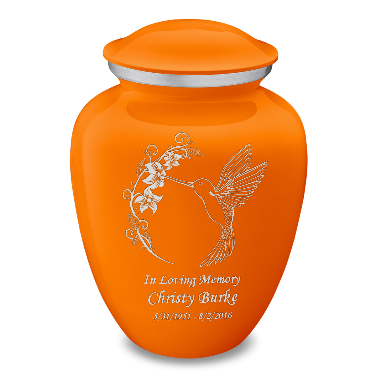 Adult Embrace Burnt Orange Hummingbird Cremation Urn