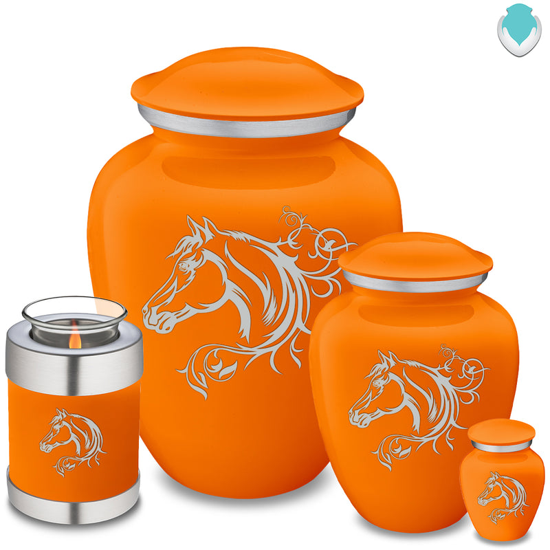 Adult Embrace Burnt Orange Horse Cremation Urn