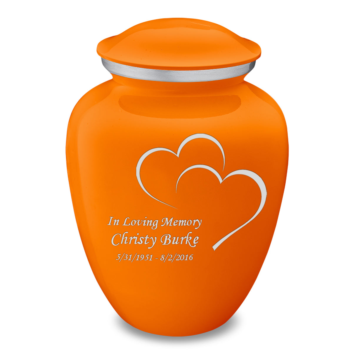 Adult Embrace Burnt Orange Hearts Cremation Urn