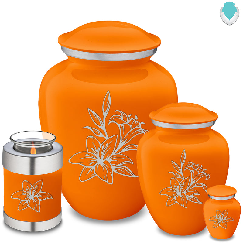 Adult Embrace Burnt Orange Lily Cremation Urn