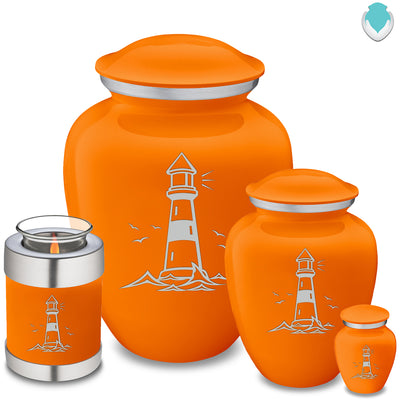 Candle Holder Embrace Burnt Orange Lighthouse Cremation Urn