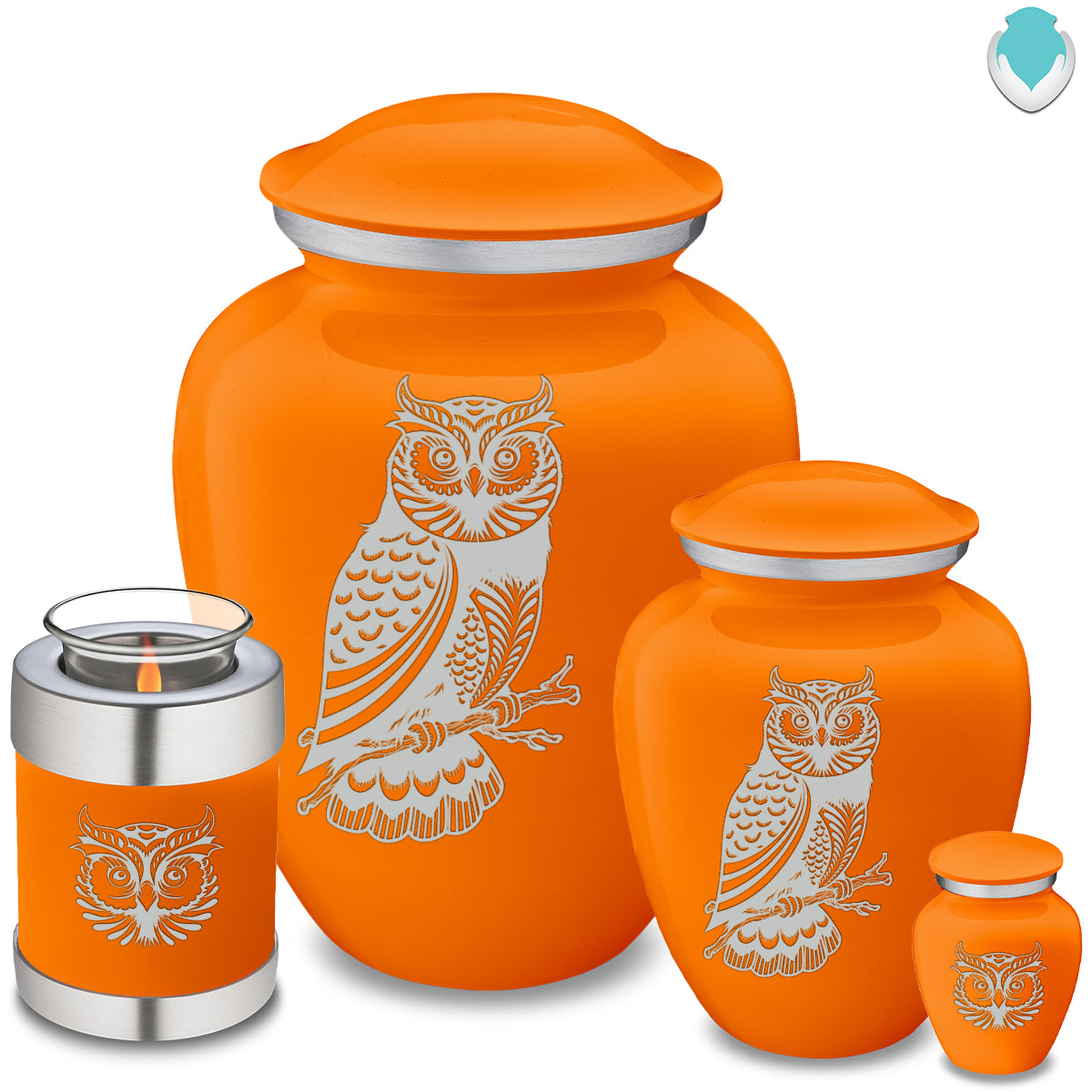 Adult Embrace Burnt Orange Owl Cremation Urn