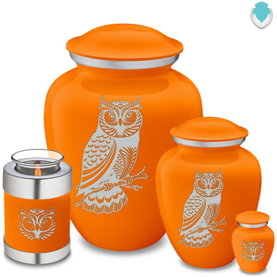 Medium Embrace Burnt Orange Owl Cremation Urn