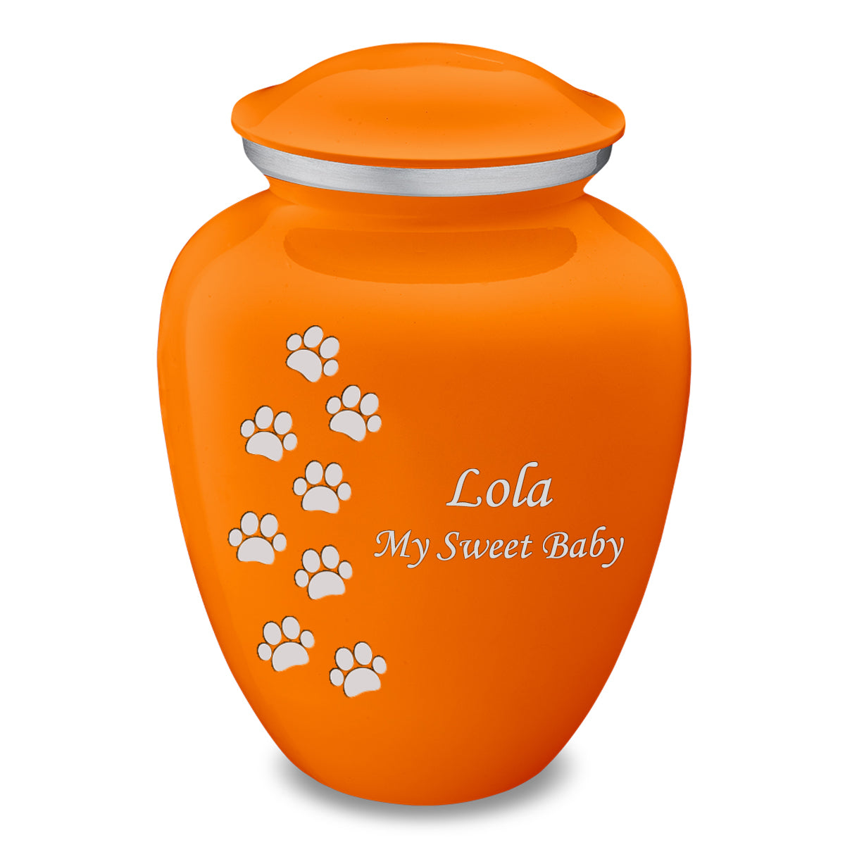 Large Embrace Burnt Orange Walking Paws Pet Cremation Urn