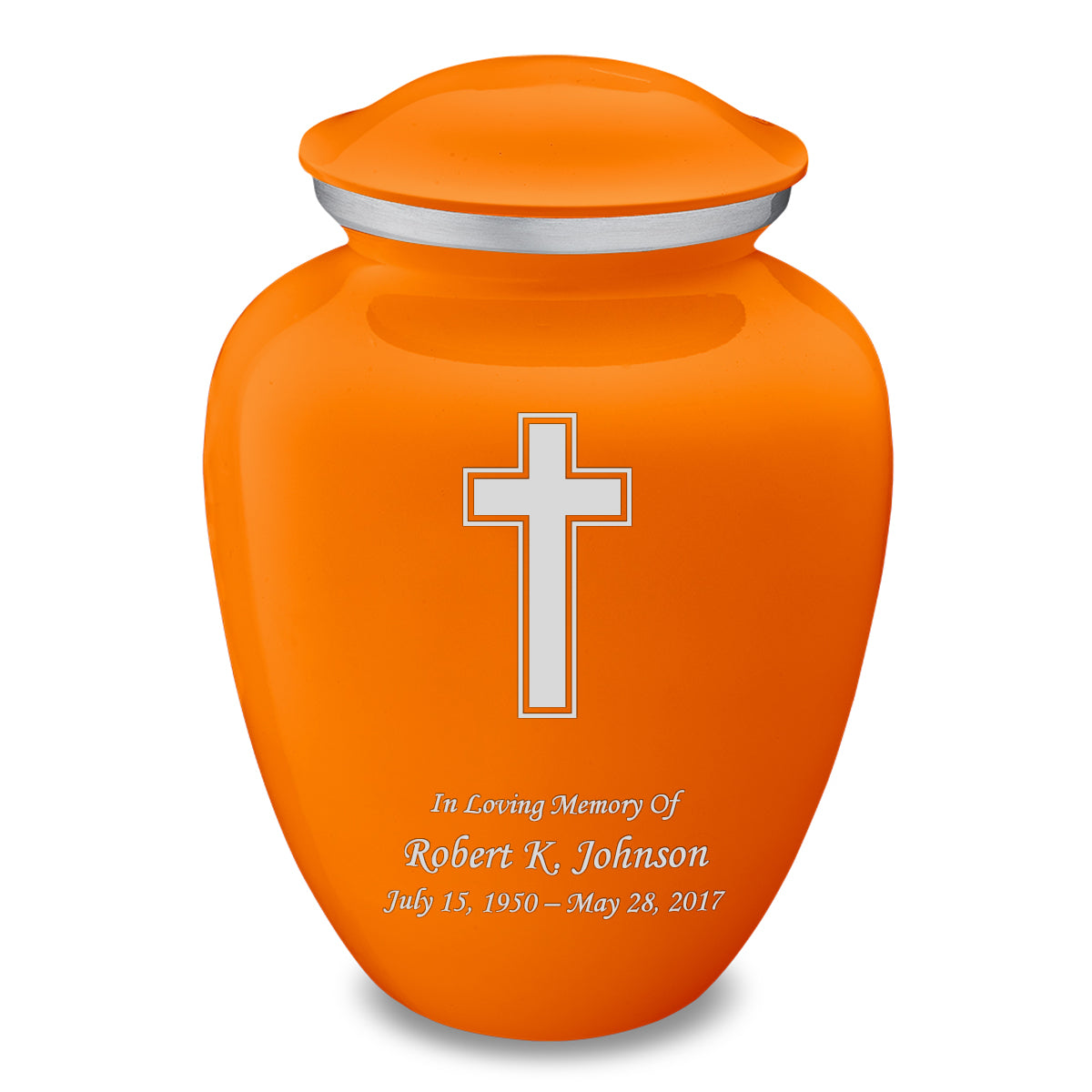 Adult Embrace Burnt Orange Simple Cross Cremation Urn