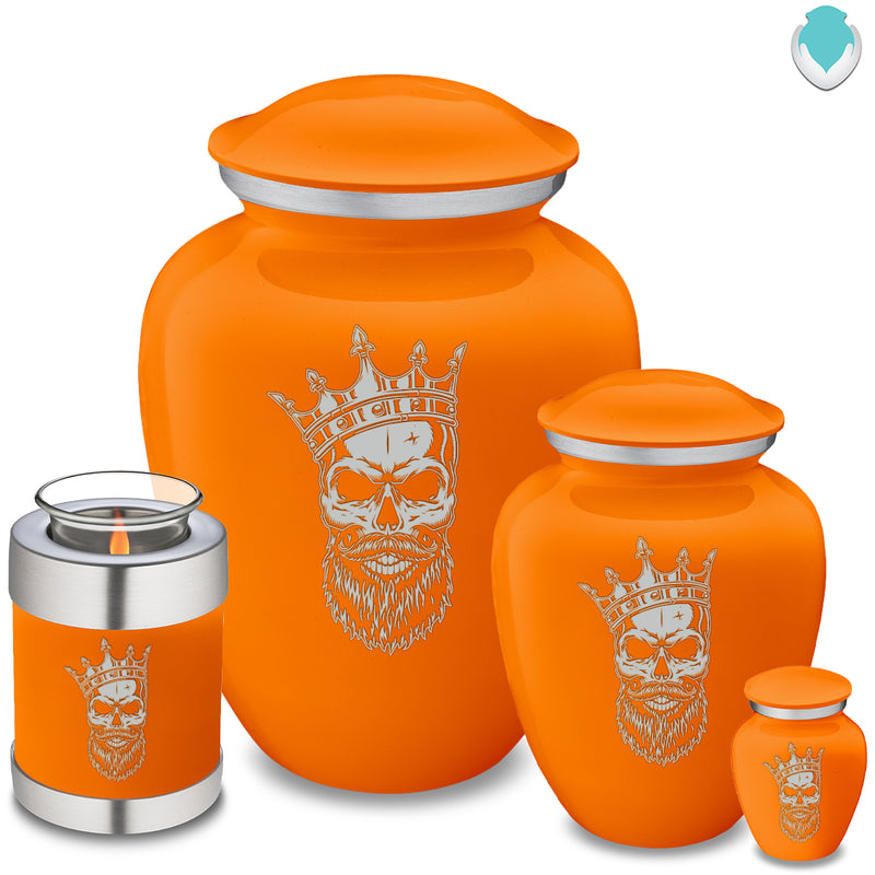 Adult Embrace Burnt Orange Skull Cremation Urn