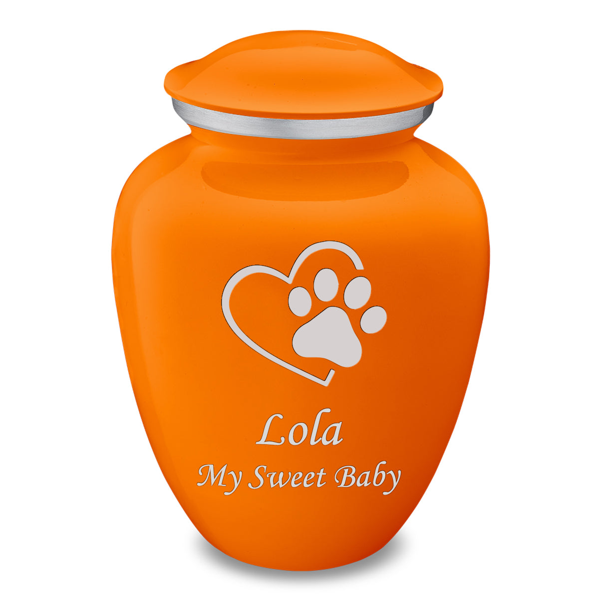 Large Embrace Burnt Orange Single Paw Heart Pet Cremation Urn