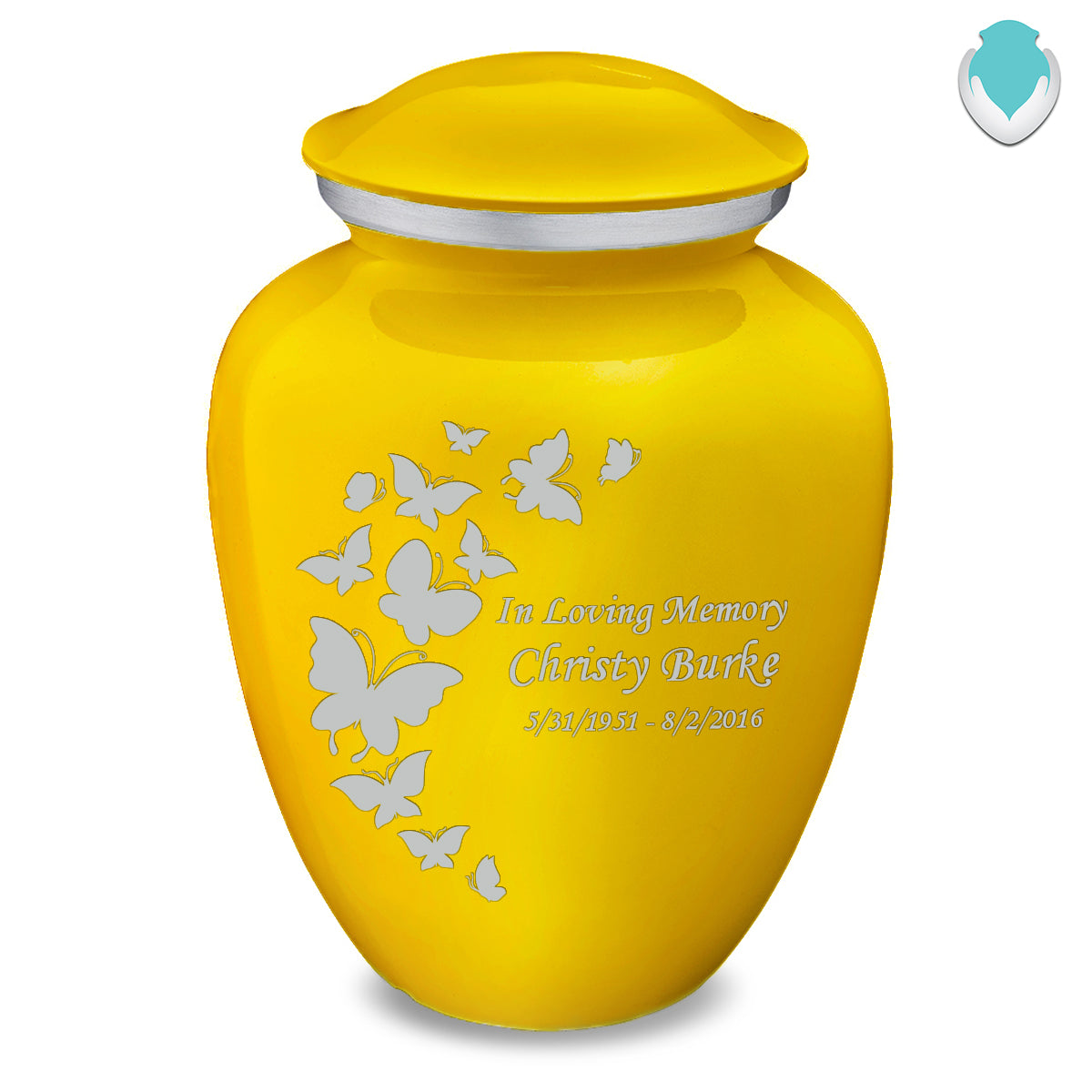 Adult Embrace Yellow Butterfly Cremation Urn