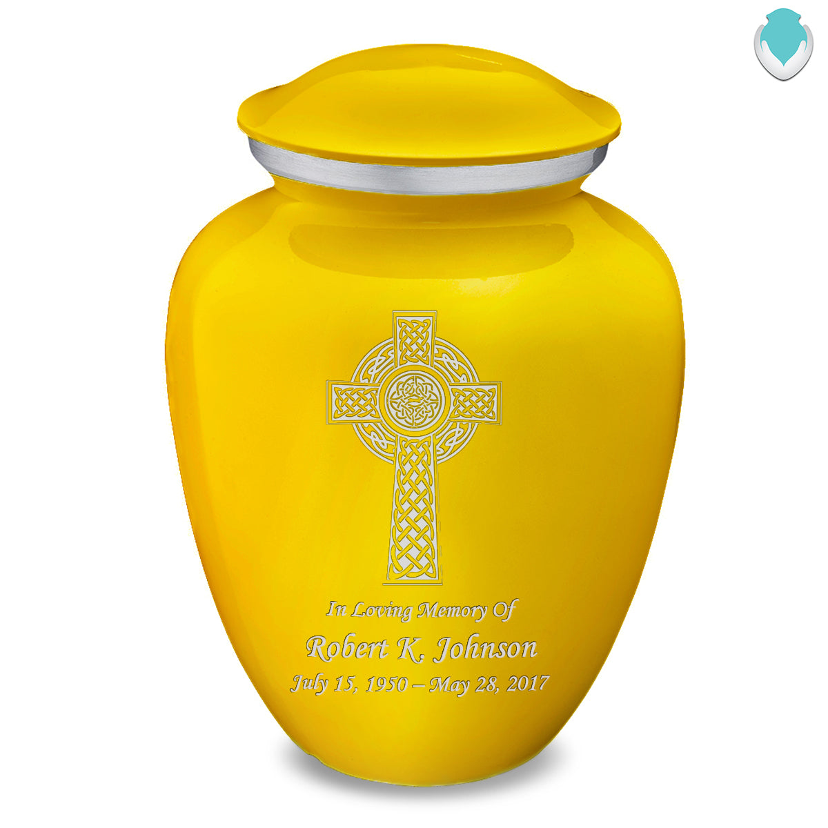 Adult Embrace Yellow Celtic Cross Cremation Urn