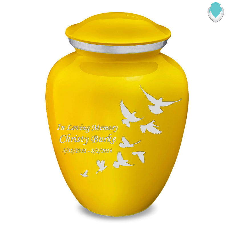 Adult Embrace Yellow Doves Cremation Urn
