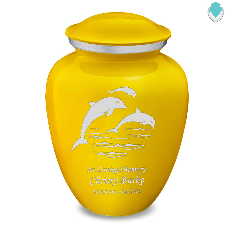 Adult Embrace Yellow Dolphins Cremation Urn