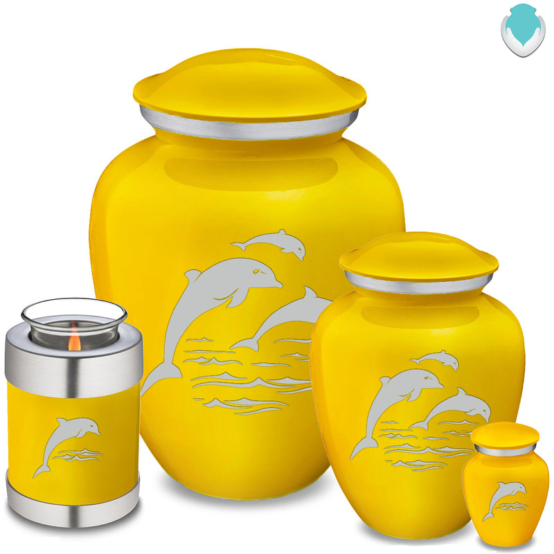 Candle Holder Embrace Yellow Dolphins Cremation Urn
