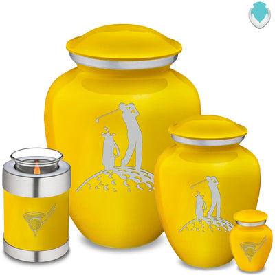 Keepsake Embrace Yellow Golfer Cremation Urn