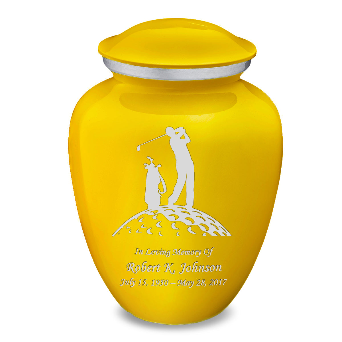 Adult Embrace Yellow Golfer Cremation Urn