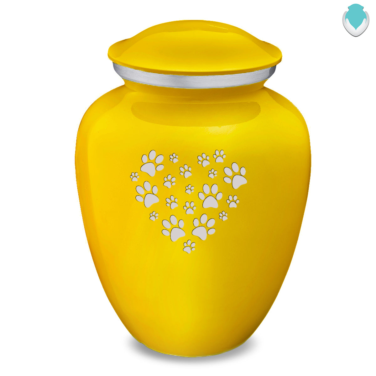 Large Embrace Yellow Heart Paws Pet Cremation Urn