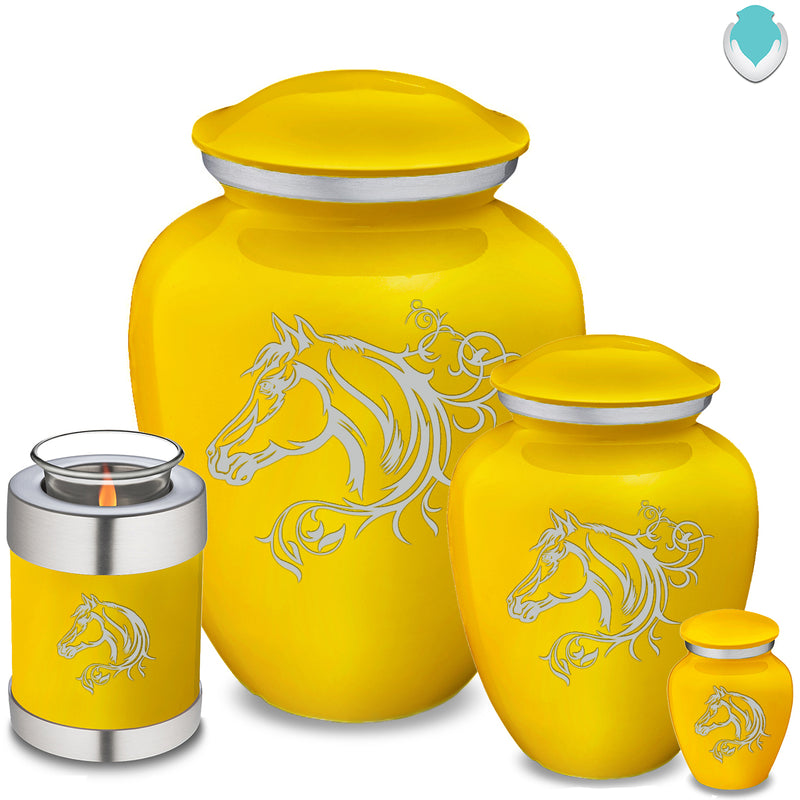 Candle Holder Embrace Yellow Horse Cremation Urn