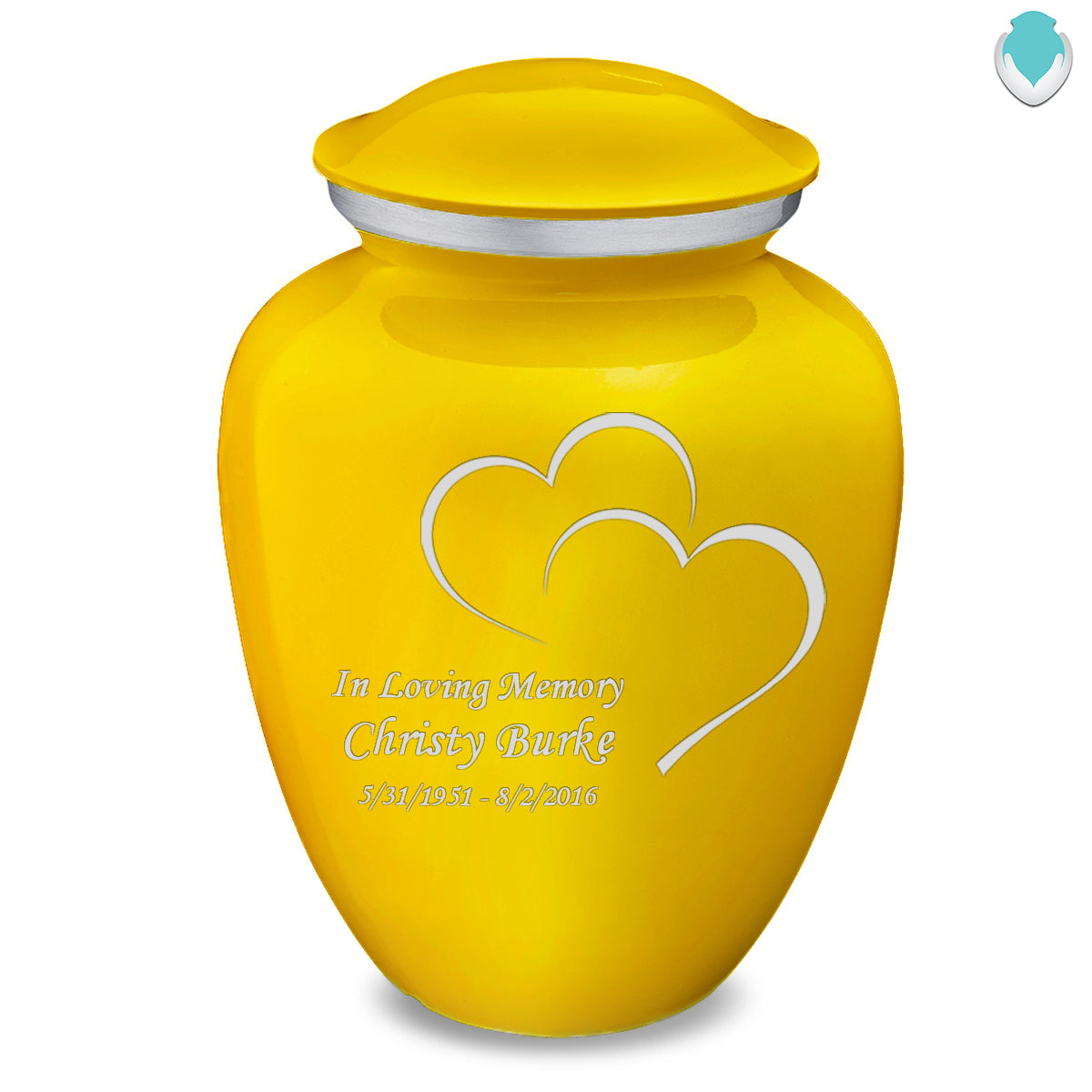 Adult Embrace Yellow Hearts Cremation Urn