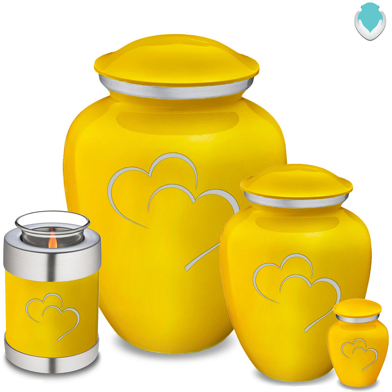 Candle Holder Embrace Yellow Hearts Cremation Urn