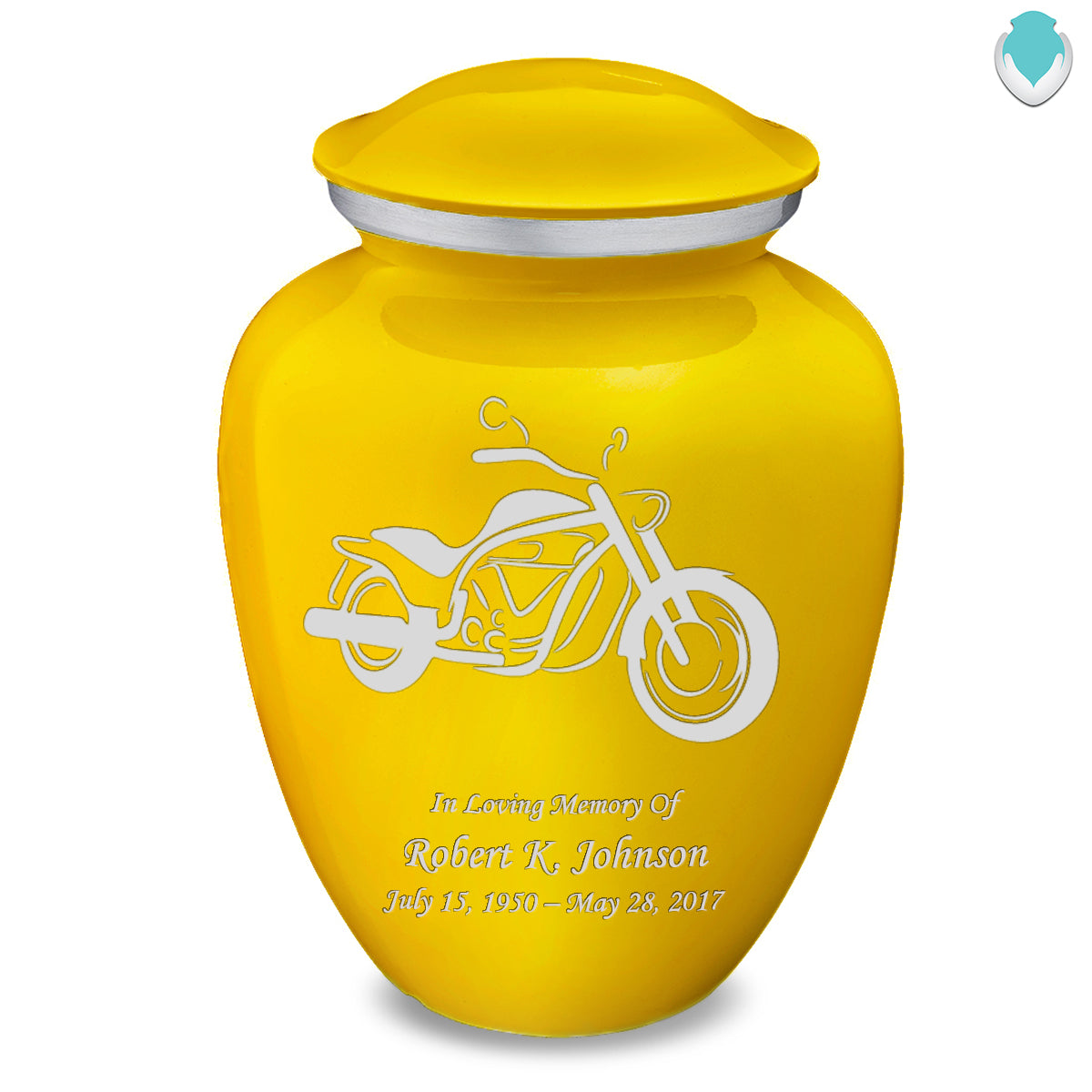 Adult Embrace Yellow Motorcycle Cremation Urn
