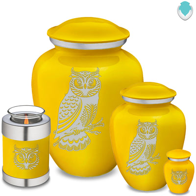 Medium Embrace Yellow Owl Cremation Urn