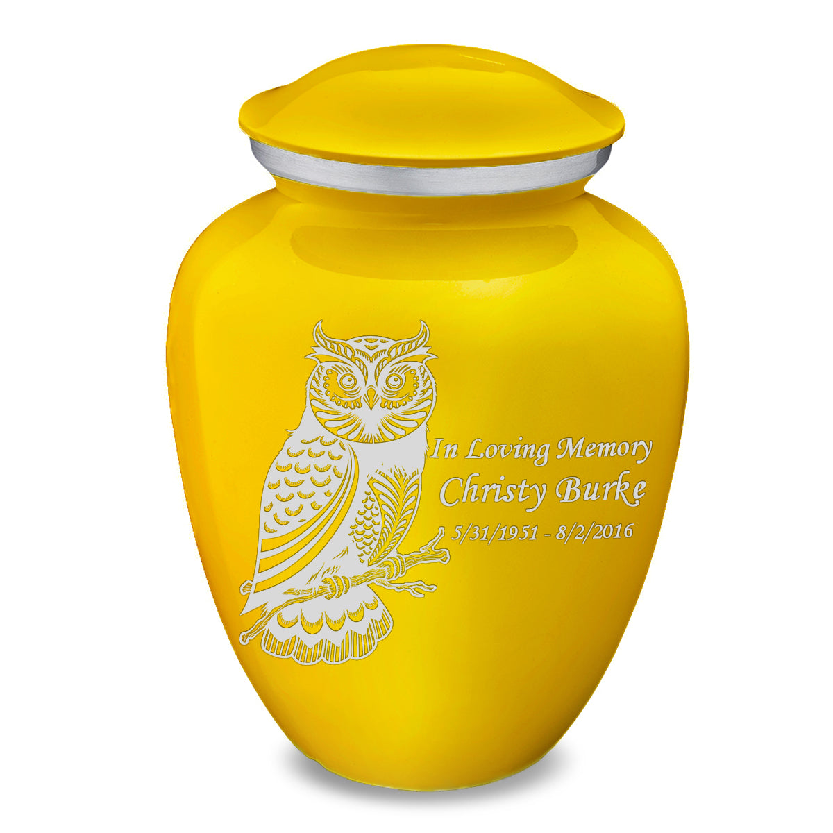 Adult Embrace Yellow Owl Cremation Urn