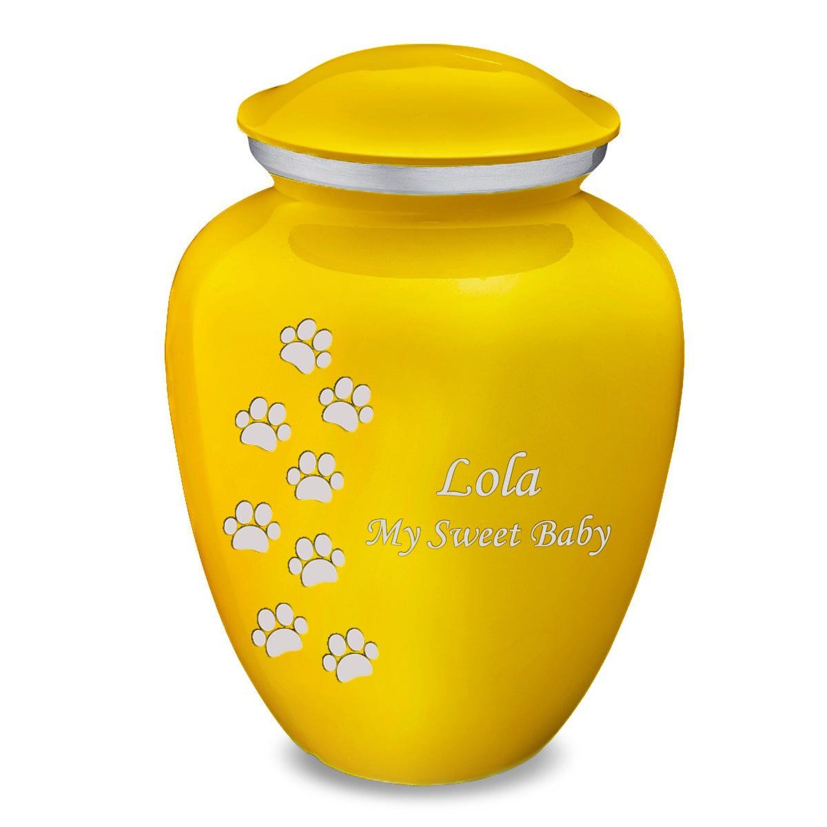Large Embrace Yellow Walking Paws Pet Cremation Urn