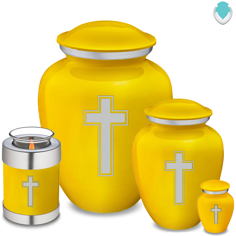 Candle Holder Embrace Yellow Simple Cross Cremation Urn