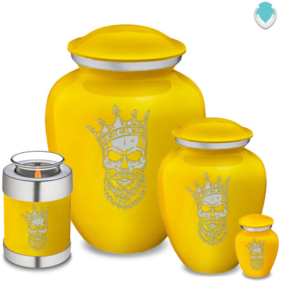 Medium Embrace Yellow Skull Cremation Urn