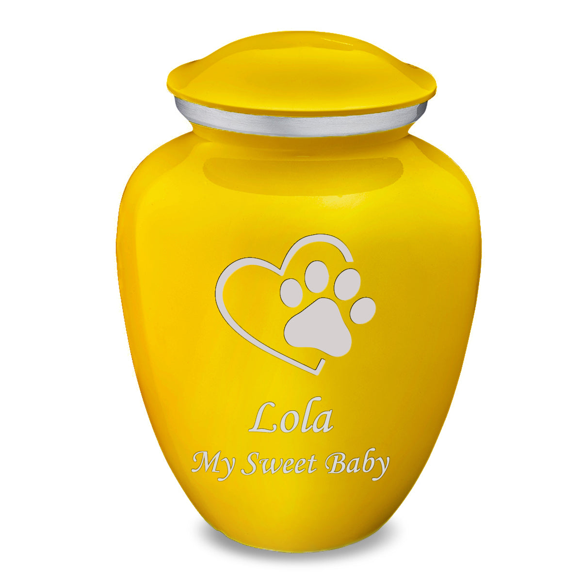Large Embrace Yellow Single Paw Heart Pet Cremation Urn