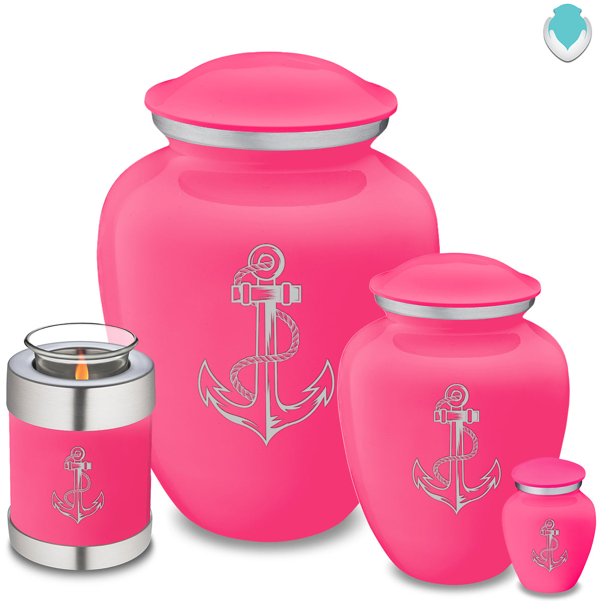 Adult Embrace Bright Pink Anchor Cremation Urn