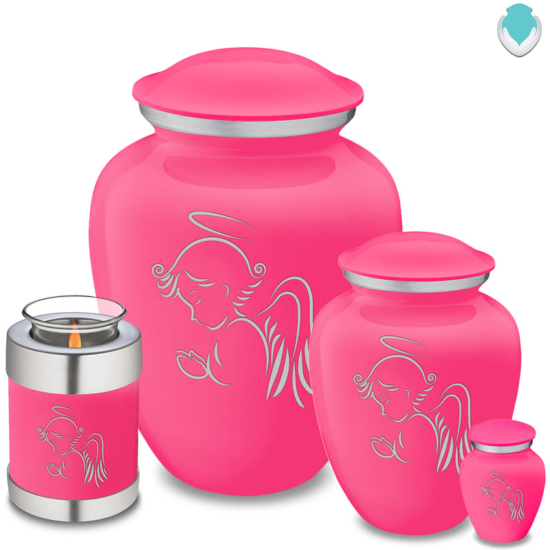 Candle Holder Embrace Bright Pink Angel Cremation Urn