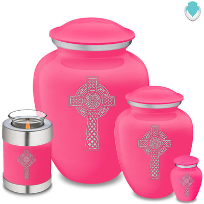 Candle Holder Embrace Bright Pink Celtic Cross Cremation Urn