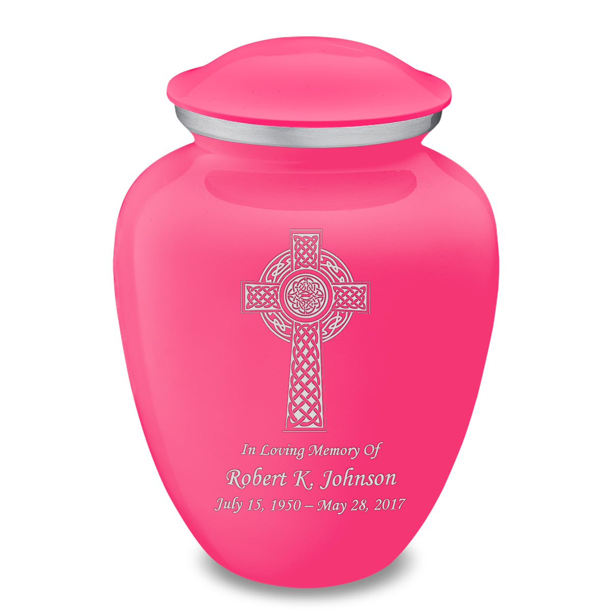 Adult Embrace Bright Pink Celtic Cross Cremation Urn