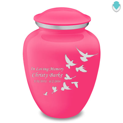 Adult Embrace Bright Pink Doves Cremation Urn