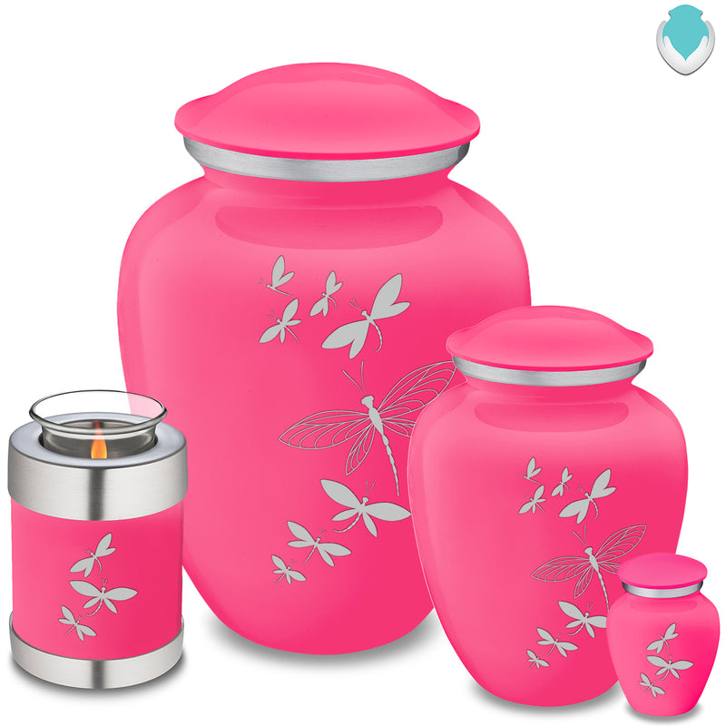 Candle Holder Embrace Bright Pink Dragonflies Cremation Urn