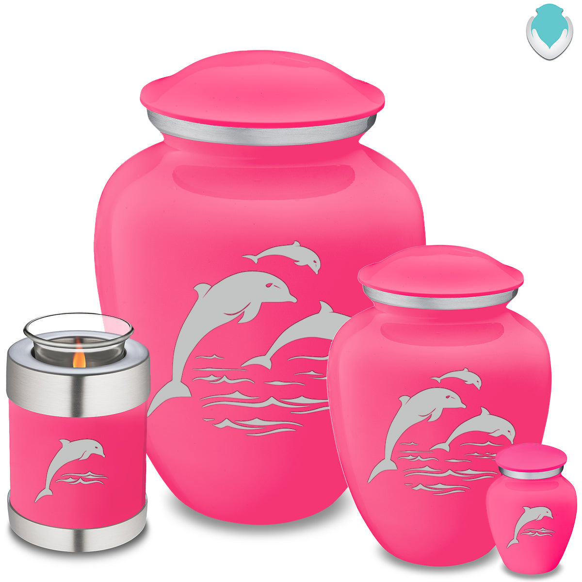 Adult Embrace Bright Pink Dolphins Cremation Urn
