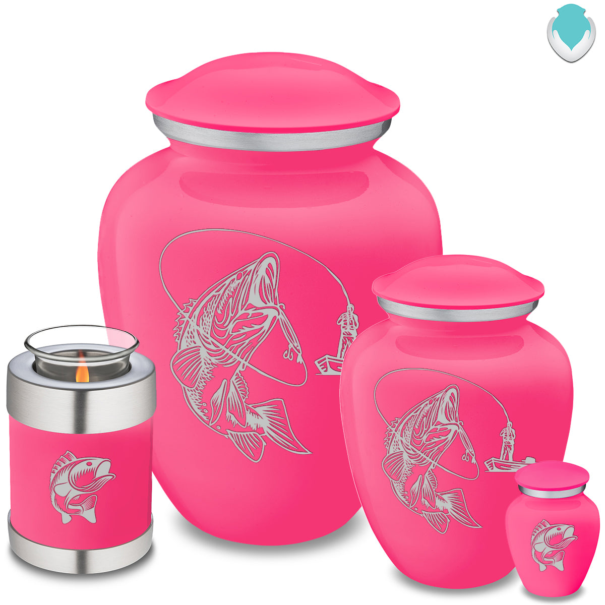 Adult Embrace Bright Pink Fishing Cremation Urn